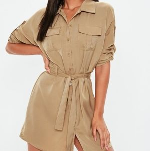 BNWT long sleeve stone color shirt dress with tie